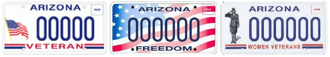 Arizona Military/Veteran license plates images